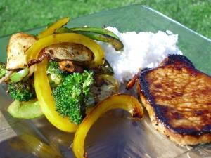 Pork chops, veggies and rice